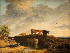 James Stark - vaches au  une  warrosage  lieu