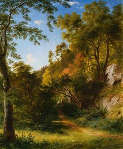 James William Giles - Woodland chemin avec  de figures