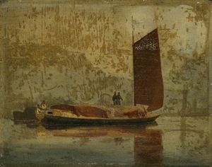 John Sell Cotman - Scène de la rivière (un Wherry Norfolk)
