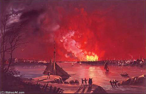 grand feu de new york de Nicolino Calyo (1799-1884, Italy)