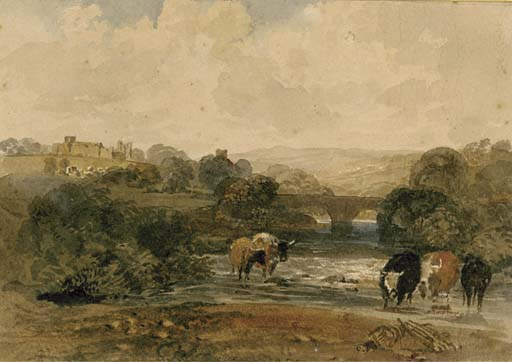 Vaches À côté la rivière , Une château le colline Au delà , dans un paysage rural de Peter De Wint (1784-1849, United Kingdom) | Reproductions D'art De Musée Peter De Wint | WahooArt.com