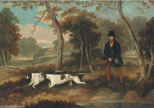 une Chasseur  avec  deux  indicateurs  de Samuel John Egbert Jones (1797-1861, United Kingdom)