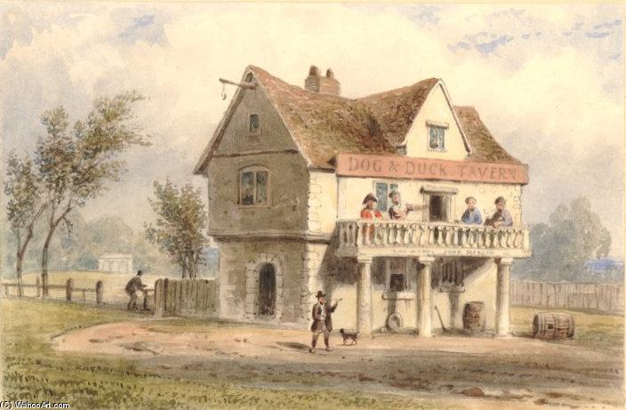 Achat Reproductions De Peintures Célèbres : Dog and Duck Tavern de Thomas Hosmer Shepherd (1792-1864, United Kingdom) | WahooArt.com
