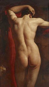 William Etty - étude universitaire d-un nu masculin , vue de dos