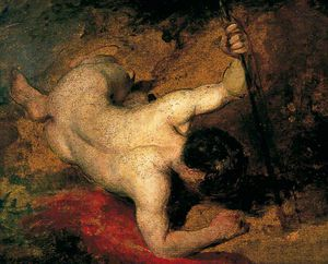 William Etty - Inclinables Male Nude Avec Spear