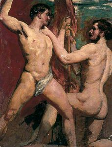 William Etty - Deux nus masculins un  a genou  avec  personnel