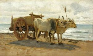 William Heath Wilson - Bullocks dessin d'un Chariot