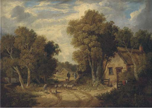 A Suffolk Lane de John Berney Ladbrooke (1803-1879, United Kingdom)
