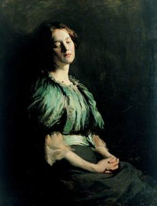 William Newenham Montague Orpen - Portrait d une fille porter  une  Vert  robe