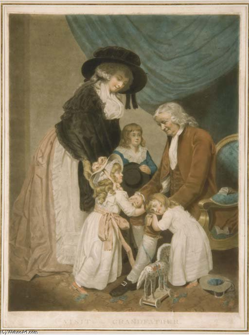 une visite à l grand-père par william Quartier de John Raphael Smith (1752-1812, United Kingdom)