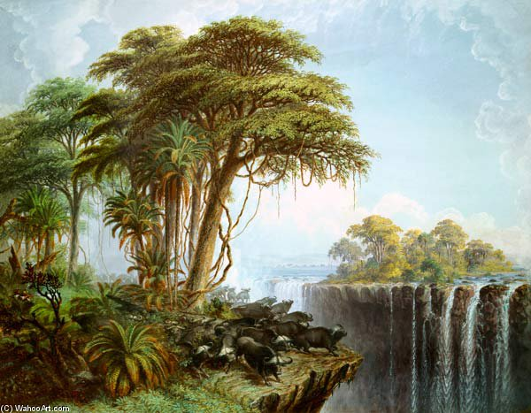Buffles Driven To The Edge Of The Opposite Garden Island Chasm, Victoria Falls de Thomas Baines (1820-1875, United Kingdom)