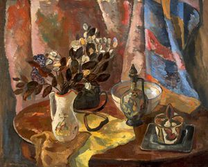 William Mactaggart - Nature morte avec une table ovale