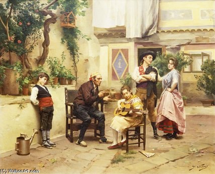 La leçon de guitare de Jules Worms (1832-1924, France)