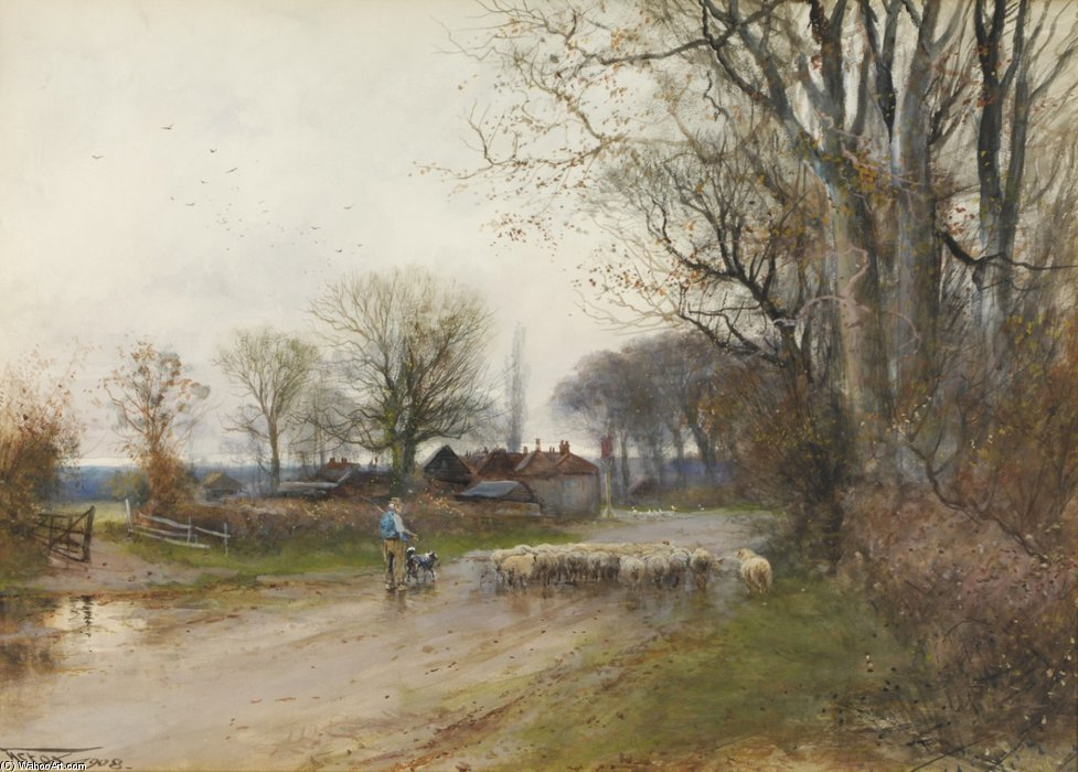 Acheter Reproductions D'art De Musée | Lane À Ringwood de Henry Charles Fox (1860-1913, United Kingdom) | WahooArt.com