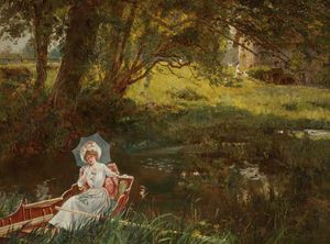 Henry John Yeend King - Lady In A Punt