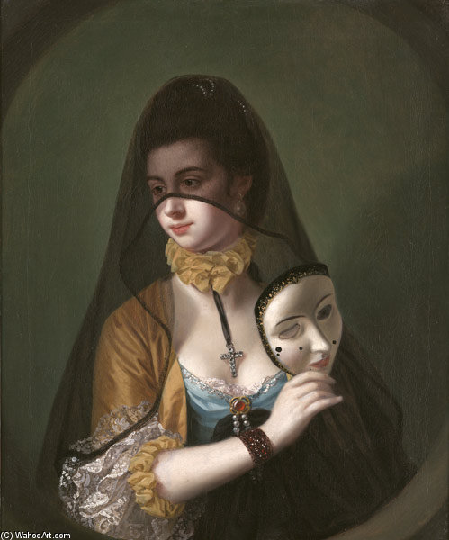 une dame dans  une  mascarade  coutume  de Henry Robert Morland (1716-1797, United Kingdom)