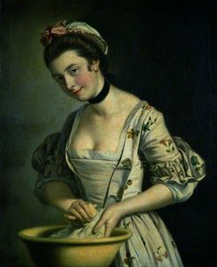 Henry Robert Morland - Une Lady's pucelle savonnage Lin -