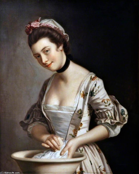 Lady's pucelle savonnage Lin de Henry Robert Morland (1716-1797, United Kingdom) | WahooArt.com
