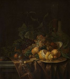 Jacob Van Walscapelle - nature morte avec fruits , flûte et Wicker-bottle