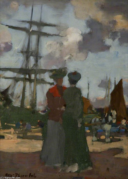 deux dames à arbroath Port de James Watterston Herald (1859-1914, United Kingdom) | Reproductions De Qualité Musée | WahooArt.com