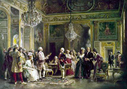 john paul jones et benjamin Franklin au Louis XVI`s Cour de Jean Leon Gerome Ferris (1863-1930, United States) | Reproductions D'art Sur Toile | WahooArt.com