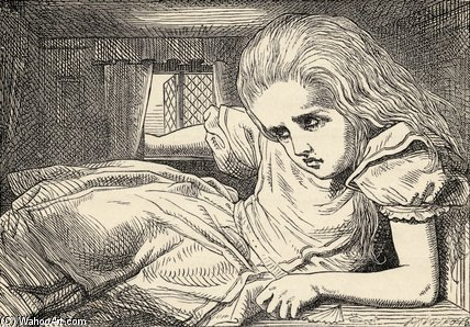 alice grows too tall pour le chambre de John Tenniel (1820-1914, United Kingdom)