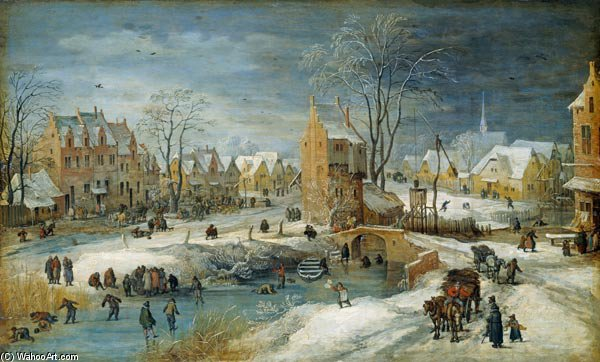 village en hiver de Joos De Momper The Younger (1564-1635)