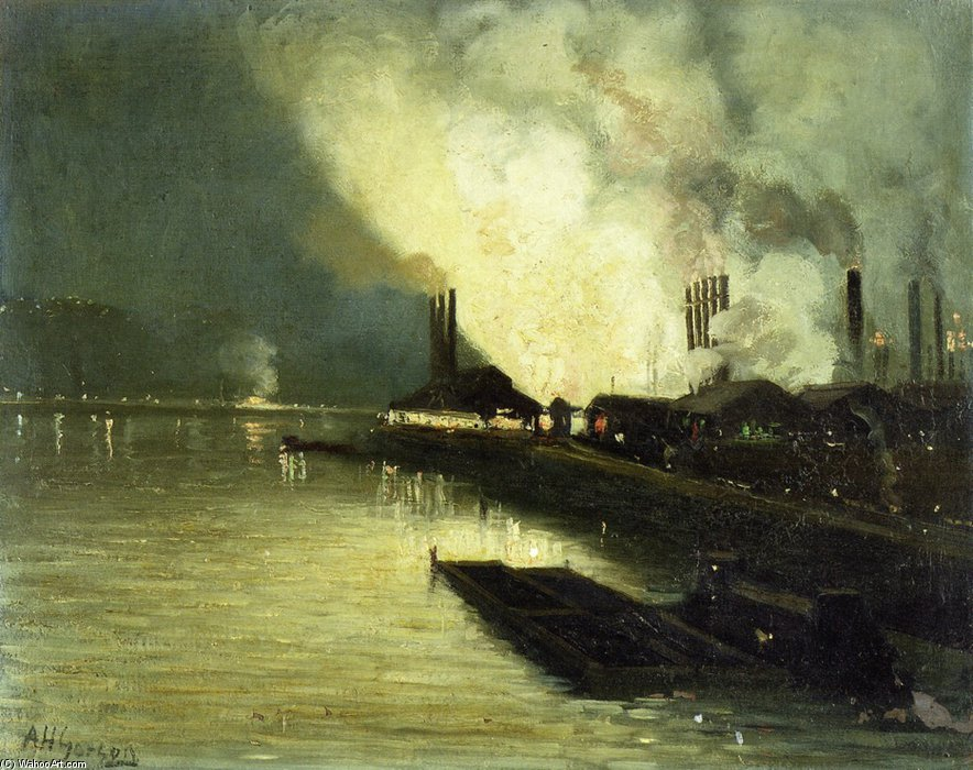 Usines At Night - de Aaron Harry Gorson (1872-1933, Lithuania)