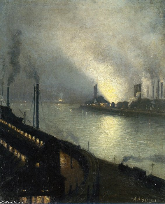 Usines au  nuit  de Aaron Harry Gorson (1872-1933, Lithuania)