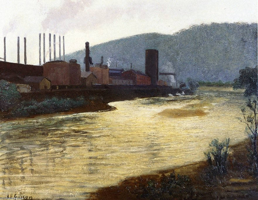 Monongahela Fleuve , Pittsburgh , jones et laughlin Acier Usine de Aaron Harry Gorson (1872-1933, Lithuania) | WahooArt.com