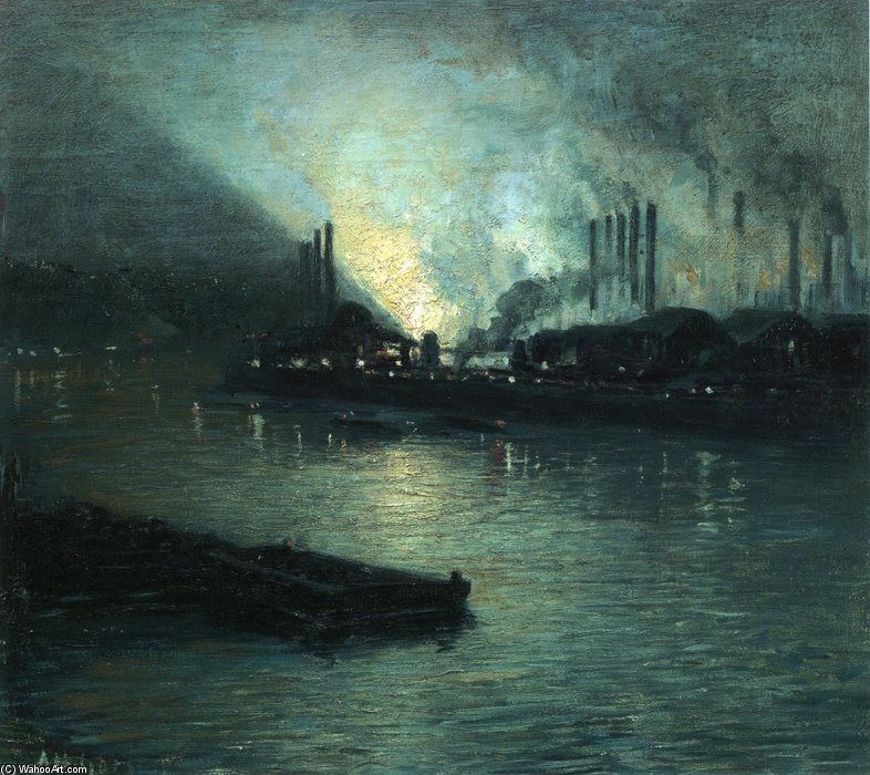 Pittsburgh industrielle Nocturne de Aaron Harry Gorson (1872-1933, Lithuania)