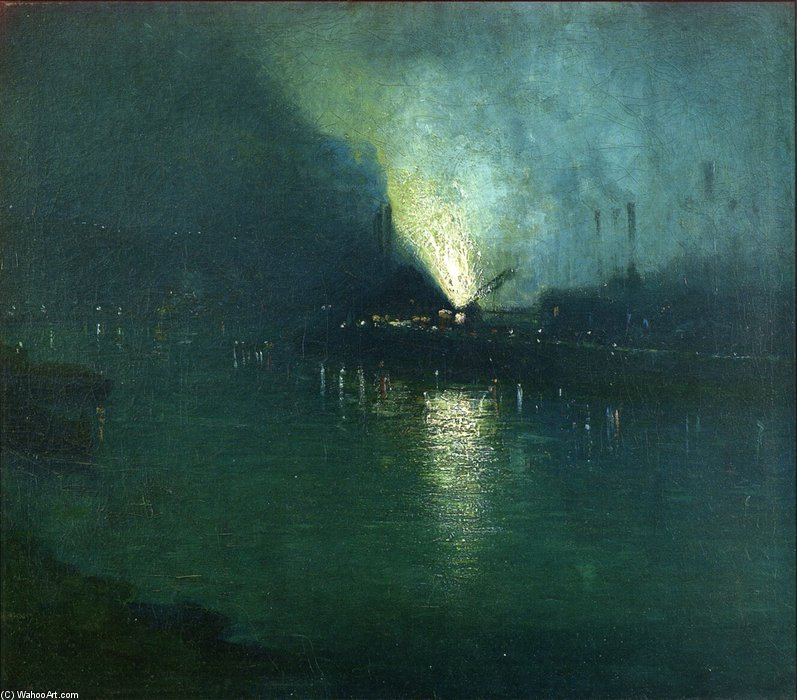 Steel Mills - Nocturne, Pittsburgh de Aaron Harry Gorson (1872-1933, Lithuania) | Copie Tableau | WahooArt.com