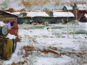 Abram Efimovich Arkhipov - Hivernal . Backyards