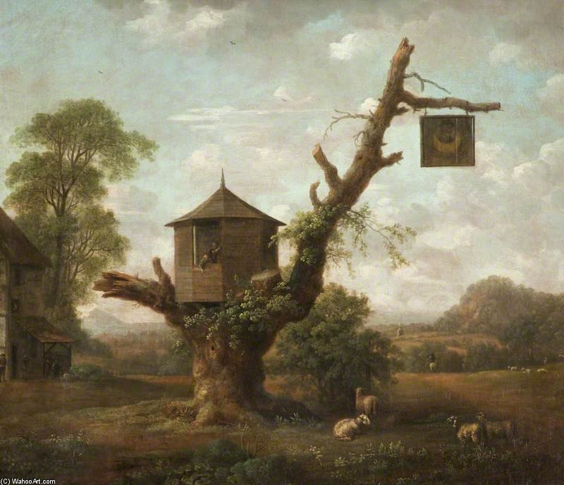 Paysage avec une cabane dans un arbre ch ne et le homme for Acheter cabane dans les arbres