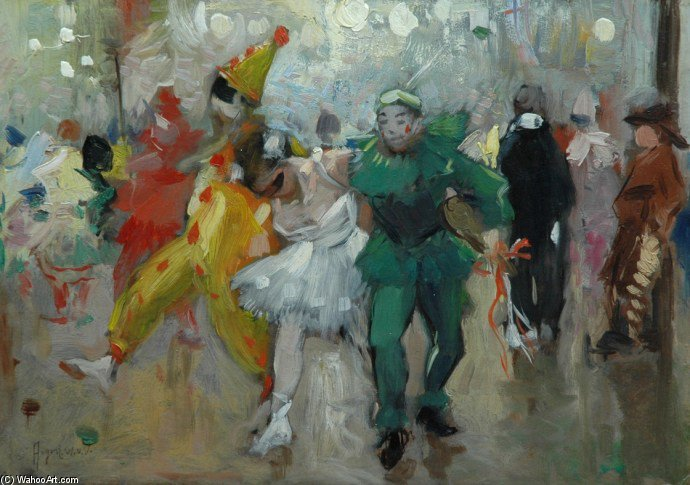 le ball Mascarade  de August Willem Van Voorden (1881-1921) | Reproductions De Peintures Célèbres | WahooArt.com