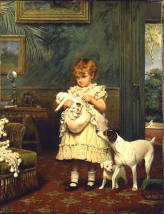 Charles Burton Barber - fille avec chiens  -