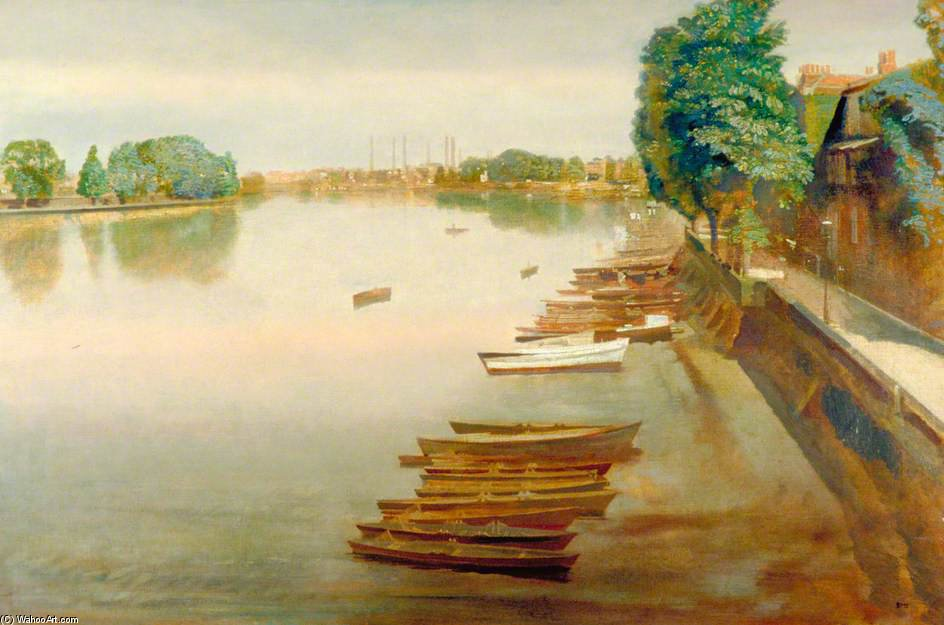 Lower Mall, Hammersmith, regardant vers Chiswick portée de Charles Henry Sims (1873-1928, United Kingdom) | WahooArt.com