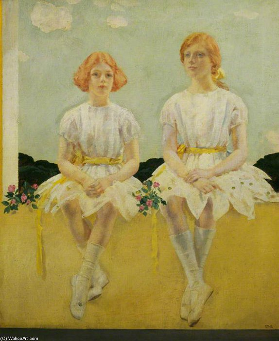 deux filles Assis - Diane , et sarah churchill de Charles Henry Sims (1873-1928, United Kingdom)