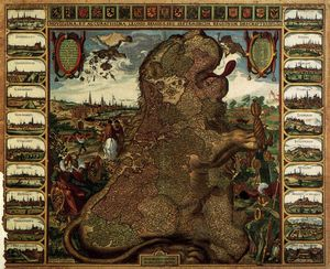 Claes Jansz The Younger Visscher - Du lion Cartographier ( lion Belgicus )