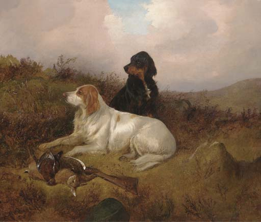 Setters Guarding The Bag de Colin Graeme Roe (1858-1910, United Kingdom)