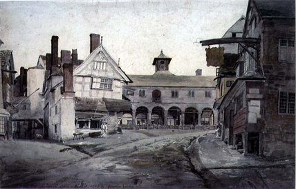 la place du marché , Ross , Herefordshire de Cornelius Varley (1781-1873, United Kingdom) | Copie Tableau | WahooArt.com