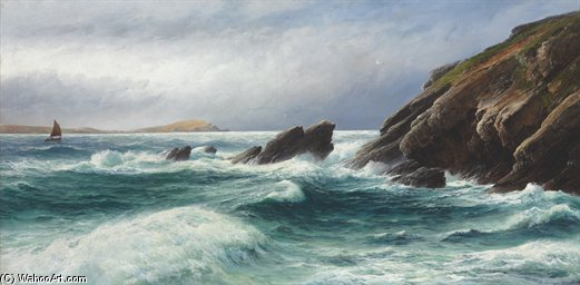 Porth Point, la baie de Newquay, Cornwall de David James | Reproductions De Qualité Musée | WahooArt.com