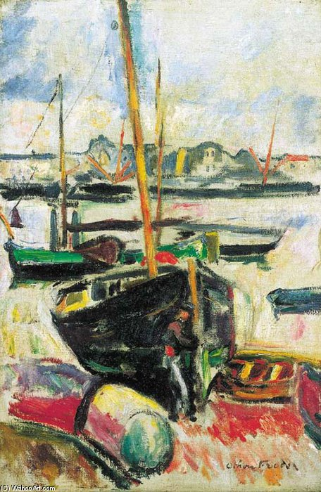 du port de Emile Othon Friesz (1879-1949, France) | Reproductions D'art Sur Toile | WahooArt.com