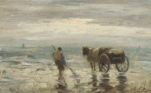Evert Pieters - Une Shell-fisher sur la plage