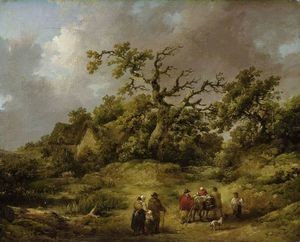 George Morland - paysage avec silhouettes