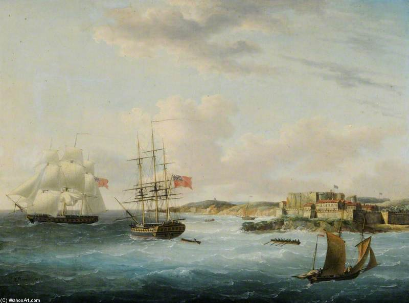 Naval Expédition Castle Cornet Off de John Thomas Serres (1759-1825, United Kingdom)