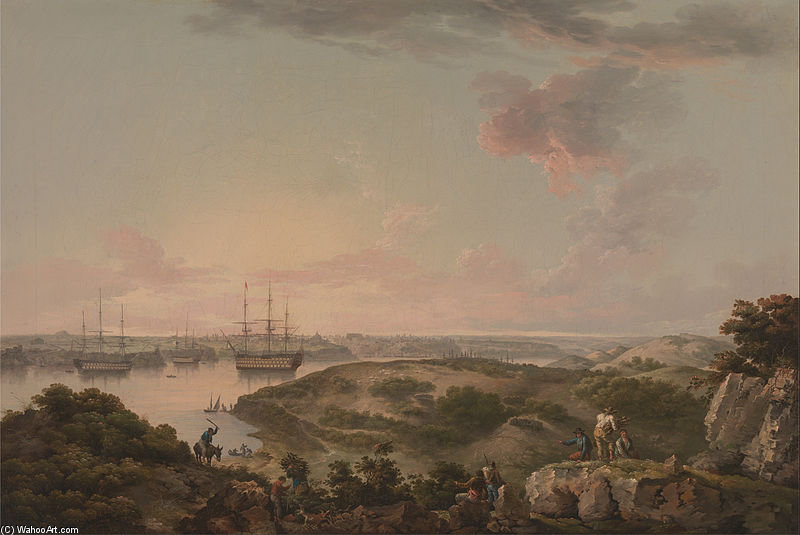 port mahon , menorca avec british Men-of-war Au Ancre - Google projet artistique de John Thomas Serres (1759-1825, United Kingdom)