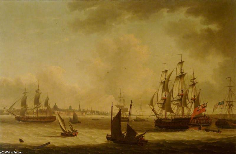 La «perle» Frigate Off Liverpool de John Thomas Serres (1759-1825, United Kingdom)