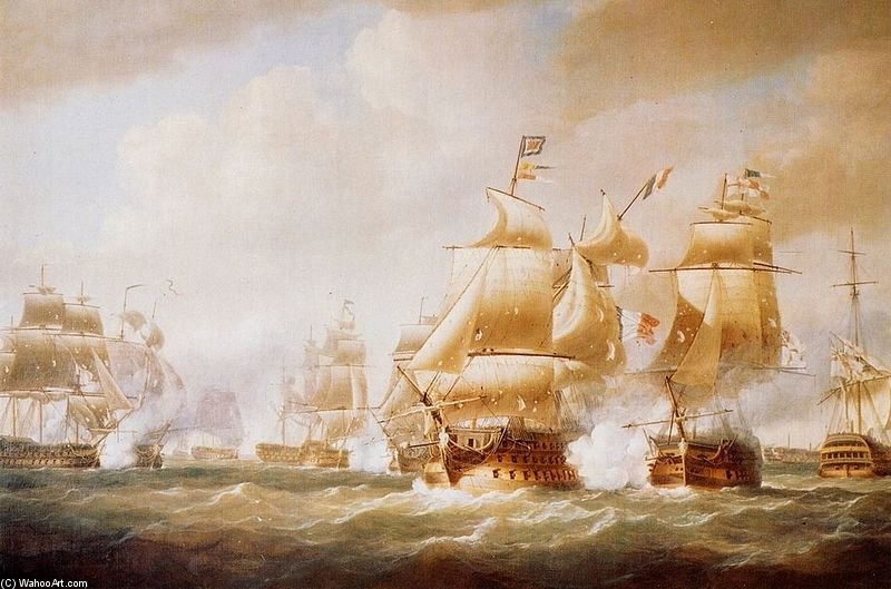 Duckworth`s Activité off san domingo de Nicholas Pocock (1740-1821, United Kingdom) | Reproductions De Peintures Célèbres | WahooArt.com