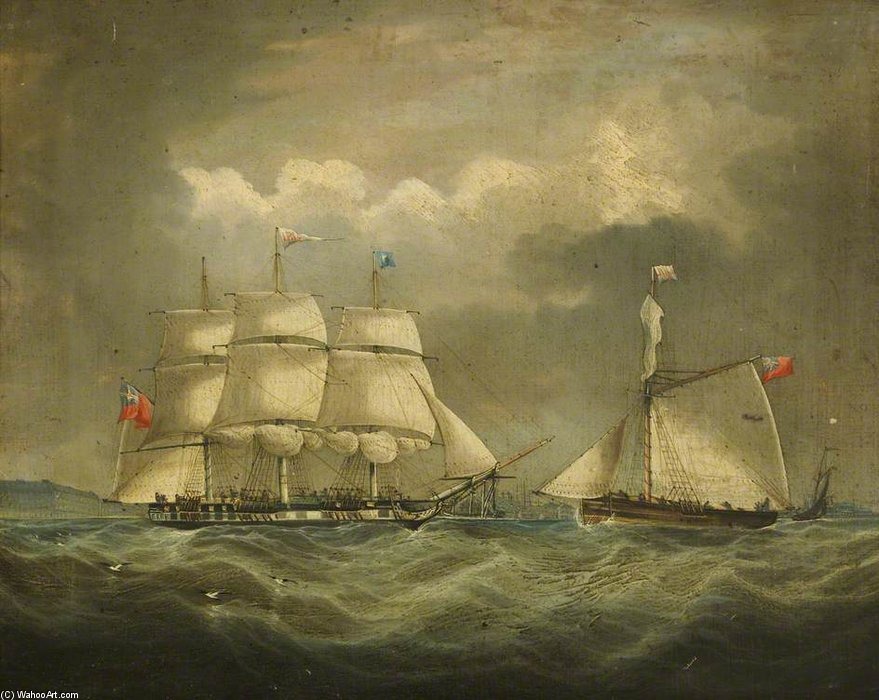 Achat Reproductions D'œuvres D'art | la barque `iris` en mer de Thomas Buttersworth (1768-1842, United Kingdom) | WahooArt.com